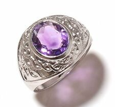 925 Sterling Silver Natural Amethyst Gem Stones Rings Men's Jewelery Us Size 9