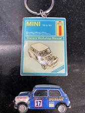 TINY Mini Cooper Mk 1 Pantone AG Diecast Car Toy Blue / Dunlop & Haynes Key Ring
