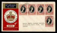 DR WHO 1953 NEW HEBRIDES FIRST FLIGHT QANTAS QEII CORONATION TO ENGLAND  f46228