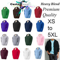 Zip Up Hoodie Heavy Blend Blank Plain Basic Hooded Fleece Sweatshirt Sweater