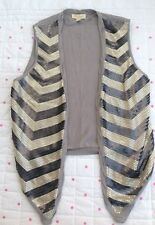 Monsoon Sleeveless Cardigan Top Grey With Sequins Size Medium M Waistcoat