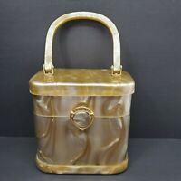 Stylecraft Vintage Lucite Purse Hong Kong Swirl Gold Acrylic