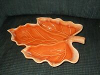 SALE!  Vintage Hull Pottery Maple Leaf Dish 3-Sectioned Ovenproof USA Orange