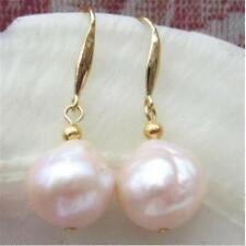 12mm Natural South Sea Baroque Rose Gold Pearl Earrings 14k Mesmerizing