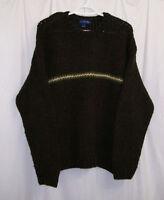 J. Crew 100% Wool Knit Sweater Men's Medium M Brown Crew Neck