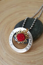"""Inhale Exhale Red Rose Gold Lotus Flower Silver Medallion Pendant Necklace 18"""""""