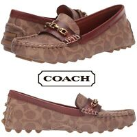 Coach Crosby Driver Loafers Casual Flats Slip On Shoe Women's Moccasins Brown