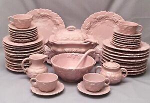 Pinto Vietri Italy Pink Dinnerware Set Embossed Grapes 49 Pc Pottery