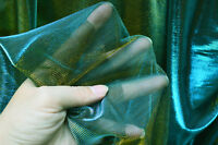 M02 Teal Blue Gold Metallic Iridescent 2 Tones Stretch Mesh Net Fabric Material