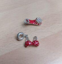 Silver red bra bikini top and red shoe charm 4.8g
