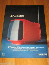 PHILIPS VULCANO TV TELEVISORE PORTATILE=ANNO 1974=PUBBLICITA'=ADVERTISING=