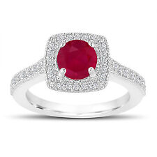 Platinum 1.28 Carat Ruby Engagement Ring, With Diamonds Wedding Ring Halo Pave