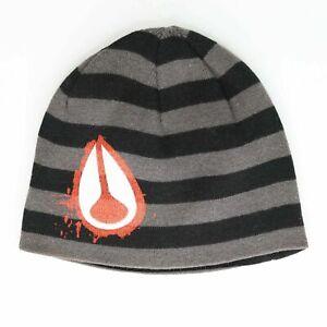 Nixon Luna Rosa Beanie Hat Black Grey Red One Size