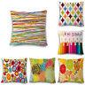Sofa Chromatic Geometry Linen Cotton Throw Pillow Case Cushion Cover Home Decor