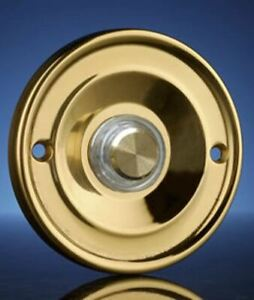 Wired Flush Fitting Illuminated Push Button, Brass, 63mm diam. Model 2207P1BsL