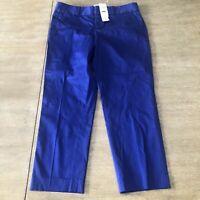 NWT Women's Banana republic Blue Career Crop Pants 4P Stretch