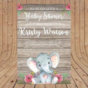 Personalised BABY SHOWER Elephant  DIGITAL - YOU PRINT -