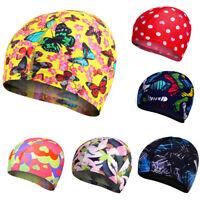Child Kid Boy Girl Lycra Fabric Fit Elastic Print Swimming Bathing Pool Cap Hat