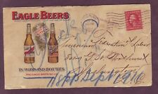 Eagle Beers - Color Illustrated - Early Advertising Cover 1911 Utica Ny to Dc !