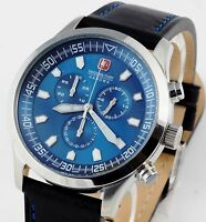 SWISS MILITARY HANOWA Chrono Chronograph Lederband Uhr NEU blau 06-4264.04.003