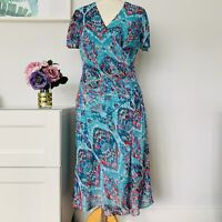 MARKS & SPENCER M&S Dress Size UK 12 GREEN | TEA TURQUOISE FLORAL 40'S wedding