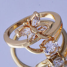 Pretty Womens yellow Gold Plated Clear CZ Stone Butterfly Flower Ring Size 7