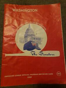 1962 Washington Senators-Cleveland Indians Program