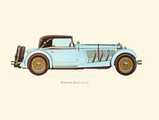 Canvas Print Vintage Car Poster Illustration - MERCEDES BENZ 1928 (SS)