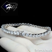 "7-8.5""MEN WOMEN 14K WHITE GOLD FINISH 4MM BLING 1 ROW TENNIS CHAIN BRACELET*BSB2"