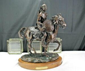 Marianne Caroselli Bronze Statue Native American Warrior on Horseback Signed