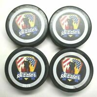 Lot 4 Regulation Rubena Official Ice Hockey Pucks Black Branded Summer Sizzler