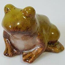 Brown Frog Playing Accordion Musical Ceramic Figurine Animal Statue SMC026