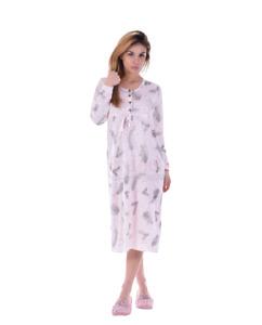 Damen Kurzarm  Nachthemd 2 Stück = 1 Preis DF035V  Baumwolle Jersey Knopfleiste