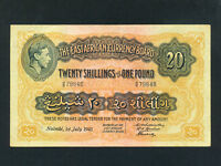 East Africa:P-30a,20 Shillings,1941 * King George VI * VF *