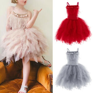 Baby Kid Girls Tulle Tutu Swan Bead Ballet Dance Dress Birthday Party Sundress