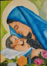 "ACEO-ORIGINAL PAINTING ""MARY MOTHER OF JESUS"" BY ME THE ARTIST LB"