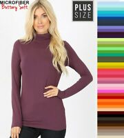 Plus Size Zenana Turtleneck Buttery Soft Long Sleeve Microfiber Top XL/1X/2X/3X