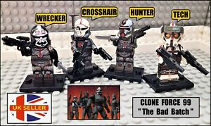 Bad Batch Star Wars Clone Force 99 Wrecker CrossHair Hunter Tech 4 Mini Figures