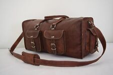 "19"" Leather Duffle Hold-All Bag Weekend Travel Luggage Handbag Sports Gym Bag"
