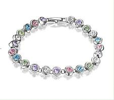 White Gold Plated Chain Tennis Bracelet with Colourful Crystals
