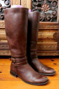 Sandler Cognac Leather Riding Long Boots Size 36b 6 Skinny Calf block Heel $299