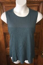 "AUSTIN REED Teal Silk Blend Sleeveless Ribbed Knit TOP, sz ""2"" (L/XL equivalent)"