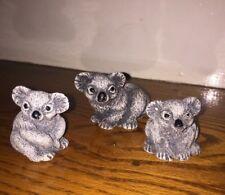 "Unique & Rare Family Of 3 Koala Bears Australian Outback Pottery Gray Stone 3"""
