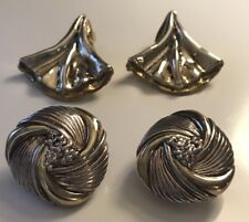 STERLING SILVER VINTAGE MODERNIST MEXICAN PAIR OF 2 LARGE EARRINGS