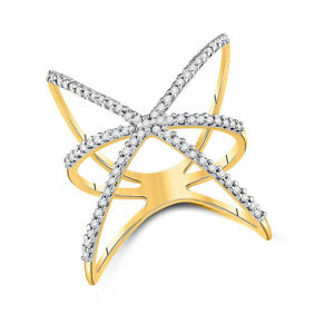 10kt Yellow Gold Womens Round Diamond Negative Space Fashion Ring 1/3 Cttw
