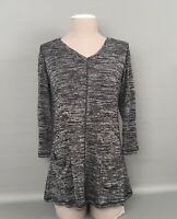 LOGO Layers By Lori Goldstein Black-Gray Heather Women's Pullover Top Sz.X-SMALL