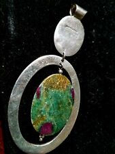 Polished Azurite? with Malachite? Stone sterling silver 925 Pendant