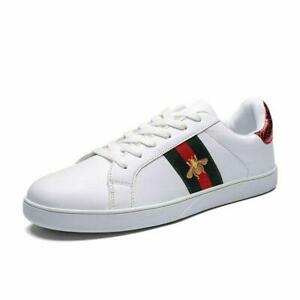 Men's Casual Shoes Men Skate Sneakers Leather White Shoes Luxury Embroidery NEW