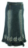 Dreams Denim Blue Boho Embroidered Beaded Lace Hem Raw Edge Flare Midi Skirt 10