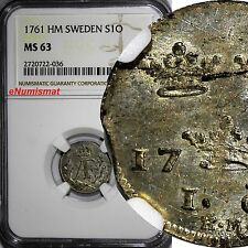 SWEDEN Adolf Fredrik 1761 HM 1 ORE NGC MS63  TOP GRADED BY NGC KM#472